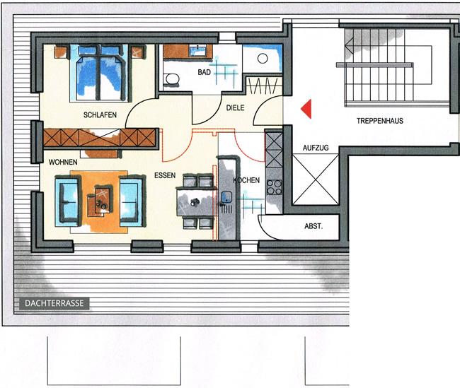 Grundriss wohnung 2 zimmer  Haus 3 - Wohnungstypen