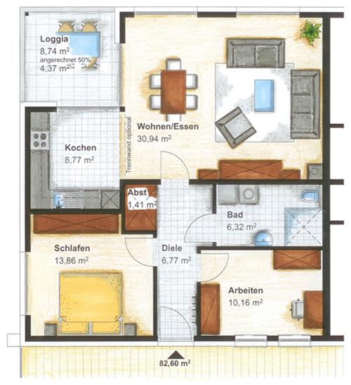 Haus 1 wohnungstypen for 2 zimmer wohnung bielefeld
